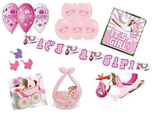 Partydekoset Babyparty Baby Shower Mädchen rosa für 27teilig Pullerparty Baby Geburt Babyparty Komplettset Tischdeko Party Geschirr