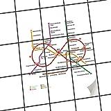 creatisto Fliesen aufkleben | Muster-Fliesenfolie Badezimmerfliesen Dekofolie Küchengestaltung | 20x25 cm Design Motiv Metro Line Infinity - Weiß - 9 Stück