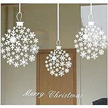 Feliz Navidad Bola de Nieve Adornos Escaparate Pegatinas de Pared Vidrio Decor