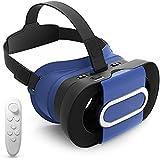 3D VR Gafas Plegable con Inalámbrico Mando Control Remoto 3D VR Headset VR Glasses Box de Realidad Virtual Ajustable para Películas 3D y Juegos de Vídeo Compatible con Smartphones de 4 -6 Pulgadas(Azul) -Duomishu