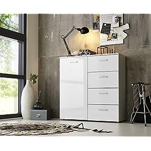 BMG Möbel Schubladen Kommode Sideboard Anrichte Marbella 2 in Hochglanz Weiß - Made in Germany -