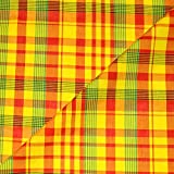 designers-factory Tissu Madras 100% Coton Jaune-Rouge-Vert - Coupon à la Mesure - Coton Madras (50cm x 1m60)