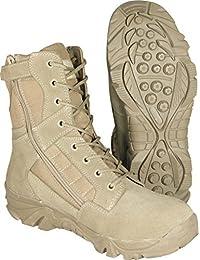 Para hombre Tactical cremallera lateral desierto ejército selva combate militar patrulla marrón trabajo ligero Suede Leather Boot