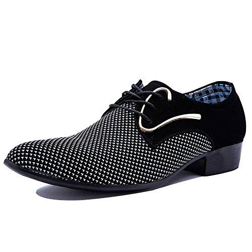 Blivener Modische Wildleder Kunstleder Derby Schuhe Formell Anzugschuhe Schnürschuhe Weiß Größe EU 45 (Smoking-schuhe Weiße)