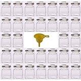 Viva Haushaltswaren - 32 x Mini Marmeladenglas / Gewürzglas 50 ml mit silberfarbenem Schraubverschluss, Gläser Set mit Deckel für Gewürze, Konfitüre, Salz etc. verwendbar (inkl. Trichter)