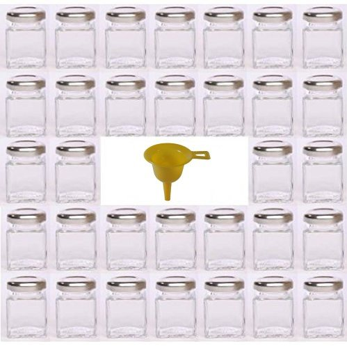 Viva Haushaltswaren G1140050/32T/argento/X - Mini-vasetti per marmellate con Tappo, 32 Pezzi, capacità: 50 ml, Imbuto Incluso, Colore Tappo: Argento, Colore Imbuto: Giallo