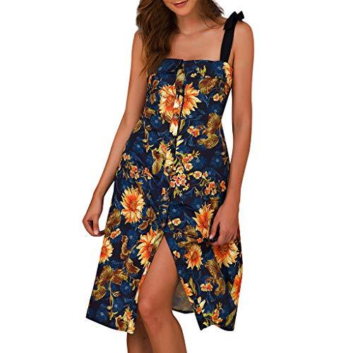 BOIYI Damen Minikleid Boho Womens Holiday Off Shoulder Button Floral Maxi Damen Beach Party Kleid(Gelb,M)
