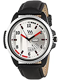 Watch Me Day And Date Collection Silver Dial Black Leather Strap Watch For Men And Boys DDWM-028 DDWM-028rto5