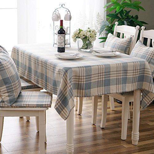HOMEJYMADE Karierte tischdecke,Leinen tabellenabdeckung Waschbare rechteck Tee tischdecke für Abendessen küche Auf Hochzeiten oder Picknick-Home Decor-A 130x200cm(51x79inch) (Küche Tischdecke Rechteck)