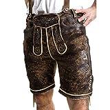 ALMBOCK Wildbock Trachtenlederhose für Herren | Kurze Lederhose Herren Tracht aus echtem Wildleder sämisch gegerbt in antik-used look braun