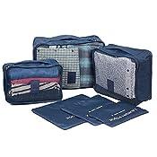 NOVAGO Ensemble complet de différents sacs, organisateurs de valise et voyage (Bleu foncé)