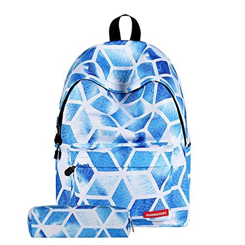 Schüler Rucksack, JOSEKO Galaxis Muster Schule Büchertasche Schultertasche Laptop Rucksack Daypack für Frauen & Mädchen im Teenageralter Blau Diamant # Mäppchen Muster