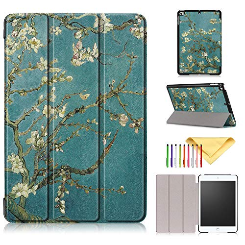 2019 iPad Mini 5 Hülle, iPad Mini 4 Hülle, Cookk Slim Lightweight Skinshell Trifold Stand Smart Cover mit Auto Sleep/Wake für Apple iPad Mini 5 2019 & iPad Mini 4.9 Zoll Tablet #002_Apricot Flower - Mini Tri Fold Wallet