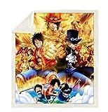 BLAMARIA Coperte Anime One Piece Fleece Coperta da Tiro Morbida Soffice Coperta per Bambini Coperta da Viaggio Coperta Coperta Divano Copripiumino (C) 150 * 200 CM