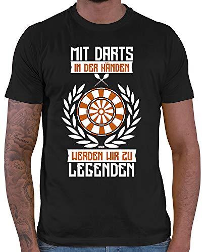 HARIZ  Herren T-Shirt Mit Darts In Den Händen Werden Wir Zu Legenden 2 Dart Sprüche Dartscheibe Sport Fun Trikot Inkl. Geschenk Karte Schwarz L