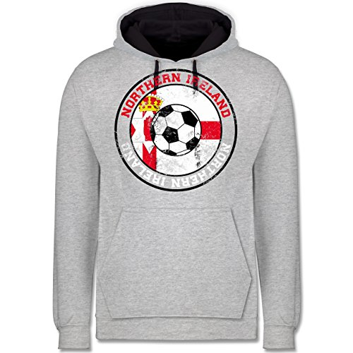 Fußball - Northern Ireland Kreis & Fußball Vintage - Kontrast Hoodie Grau meliert/Dunkelblau
