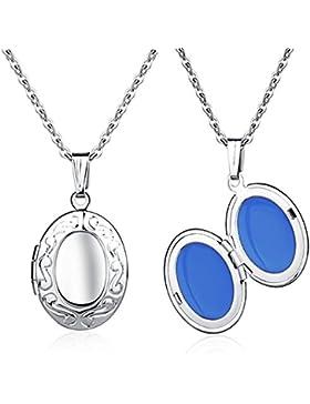 Feilok Eingraviert Oval Foto Medaillon Edelstahl Anhänger Halskette, Zwei Farben