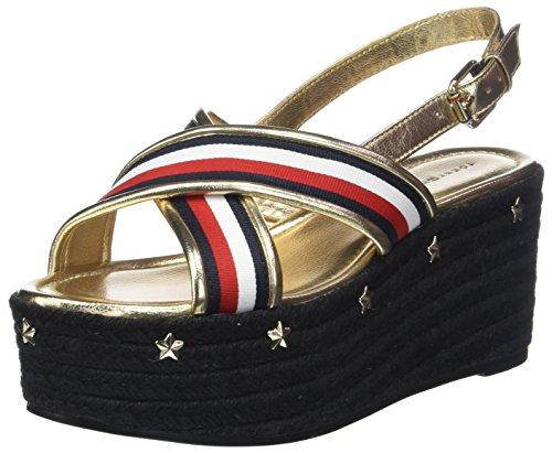 Tommy Hilfiger Corporate Ribbon Flatform Sandal, Alpargata para Mujer, Multicolor RWB 020, 40 EU