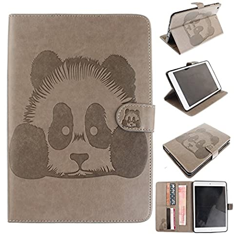 iPad Mini 1 iPad Mini 2 iPad Mini 3 Housse, iPad Mini 1 iPad Mini 2 iPad Mini 3 Coque - Slim-Fit étui Housse Coque Smart Case Cover pour iPad Mini 1/2/3, Cozy Hut Panda Pattern PU Cuir Coque Stand Flip Etui Housse de Protection pour iPad Mini 1/2/3 -