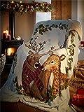 Mr & Mrs Stag Herr & Frau Hirsch dekorative Weihnachtsfleecedecke für Bett/Sofa oder als Überwurf, Polyester, mehrfarbig, 130x170cm