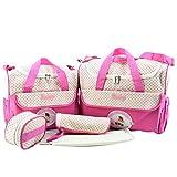 Jitong Gedruckte 5 Stück Wickeltasche Set/Multifunktion Mutter Handtasche Schultertasche/Flasche Taschen/Baby Wickelauflage (Rose, Eine Größe)