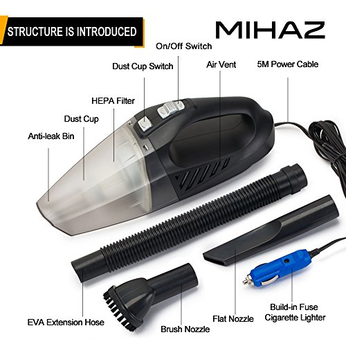 Aspirapolvere-auto-MIHAZ-DC-12-Volt-75W-asciuga-mano-portatile-bagnato-asciutto-portatile-per-auto-cavo-di-alimentazione-14FT-5M
