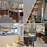 Set of 10, 40mm Square Warm White LED Decking / Deck / Plinth Lights (high quality stainless steel lights - ideal for kitchen plinths, patio lighting, stairs, etc)