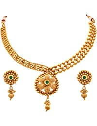 JFL - Traditional Ethnic One Gram Gold Plated Gold Beads Red Stone Designer Necklace Set For Girls & Women