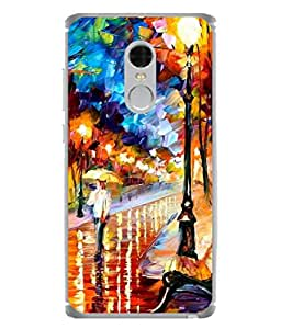 PrintVisa Designer Back Case Cover for Xiaomi Redmi Note 4 (2017 Edition) (Graphic Paint Blue Drawing Modern Art Road Walk)