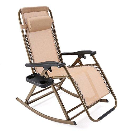 Faltbar Schaukelstuhl Schwerelosigkeit Klappstuhl, Liegen Gartenstuhl mit Verstellbares Kissen für Garten Terrasse Lawn- Innen & Draussen