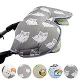 BAMBINIWELT universaler Muff/Handwärmer für Kinderwagen, Buggy, Jogger mit Wolle, Baumwolle (Grau Weiße Eule)