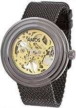 Comprar Aatos SimeriB - Reloj de caballero mecánico de cuerda manual, esqueleto completo, correa de acero inoxidable bañado en negro, caja de metal bañado en negro
