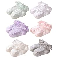 JT-Amigo 6 Pairs Baby Girls Kids Cotton Lace Frilly Socks, XL (5-7 Years)