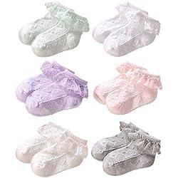 JT-Amigo Pack de 6 Pares Calcetines con volante de encaje - para bebé niña, S (0-1 años)
