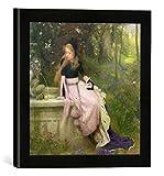 """Gerahmtes Bild von William Robert Symonds """"The Princess and the Frog, 1894"""", Kunstdruck im hochwertigen handgefertigten Bilder-Rahmen, 30x30 cm, Schwarz matt"""