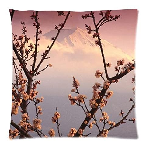 Hot Sale Mount Fuji and Cherry Blossoms Pattern Print Soft Zippered Square Pillow Covers Cushion Case 18x18 inches (Twin Sides )