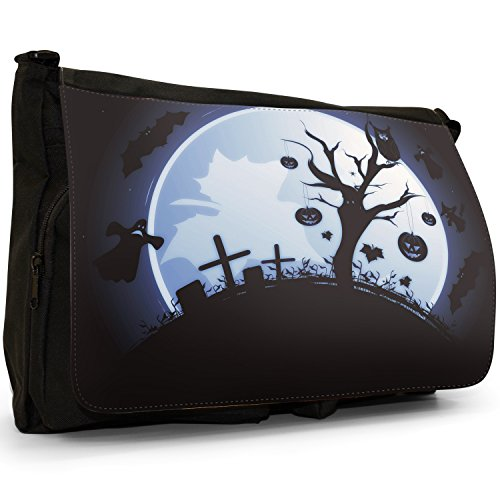 Fancy A Bag Borsa Messenger nero Moonlight Bats Ghost Graveyard Moonlight Pumpkin