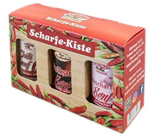 Senf Geschenkset - Scharfe Kiste (Set mit 3 Artikeln)