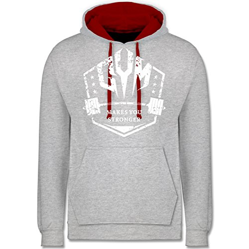 CrossFit & Workout - Makes you Stronger - Kontrast Hoodie Grau Meliert/Rot