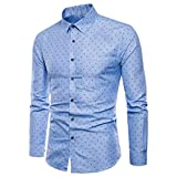 BHYDRY Fashion Mens Long Sleeve Oxford Formal Casual Suits Slim Fit Tee Dress Shirts Solid Color Blouse Lapel Top(XXL,Blue)