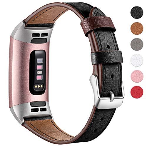HUMENN Armband für Fitbit Charge 3 Leder Armbänder, Prämie Leder Einstellbare Ersatzband für Fitbit Charge 3, Fitness Zubehör für Männer Frauen Klein Schwarz -