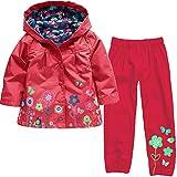 Luoluoluo Bambina Abbigliamento,Completini Bimba,Bambina Impermeabile Ragazza Pioggia Giacca Stampare Cappotto con Cappuccio +Pantaloni per Bambina (E, 4 Anni)