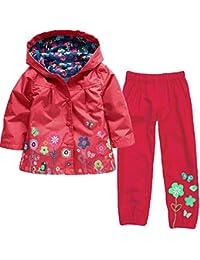 Conjuntos Bebé Niña, K-Youth Chaqueta Impermeable con Capucha y Flores Manga Larga Abrigos Bebé Unisex Tops y Pantalones Otoño Invierno Ropa Conjunto