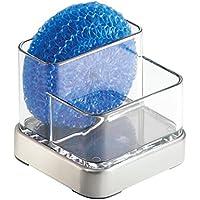 mDesign Porta estropajos – Organizador de cocina para esponjas y lanas de acero – El guarda estropajos idóneo - Cepillado/transparente