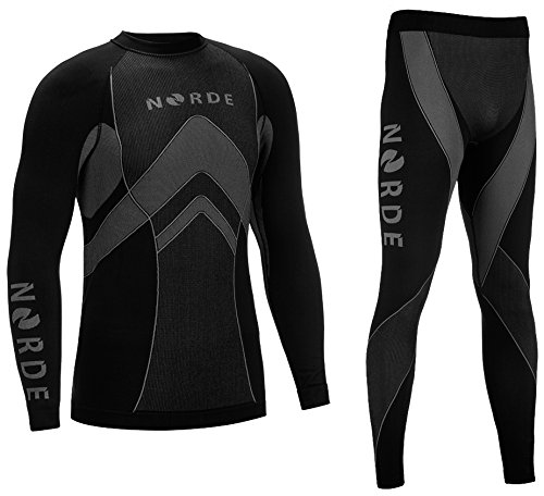 Norde THERMOTECH Herren Funktionswäsche Thermoaktiv Atmungsaktiv Base Layer Set Outdoor Radsport Running (Schwarz/Grau, S)