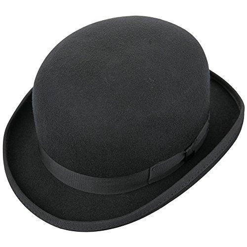 Insun Herren Hut Fedora Hut Pork Pie Hüte Wollfilz Trilby mit Hutband Wintermütze Schwarz 62cm (Hat Pork Pie Wollfilz)