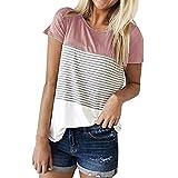 FNKDOR Women Summer Short Sleeve Triple Color Block Stripe T-Shirt Casual Cool Blouse (M, Pink)