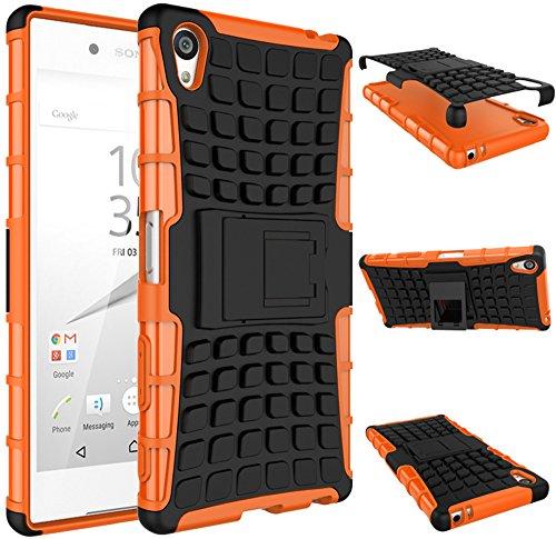 Preisvergleich Produktbild Rüstung Serie Schutzhülle Sony Xperia Z5 Premium Hülle [Schwarz+Orange], Outdoor Case Tasche ISENPENK Muster Schutz Handy Hülle Mit Ständer