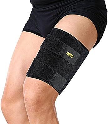 Yosoo ajustable Jambiere protección muslo neopreno para souche muslo heridas tendinites réadaptation y recuperación, apta pata izquierda o derecha para hombres y mujeres, Negro