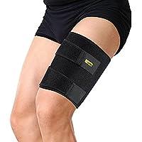 Protección de neopreno para muslo (apta para pierna izquierda o derecha, diseño unisex), color negro